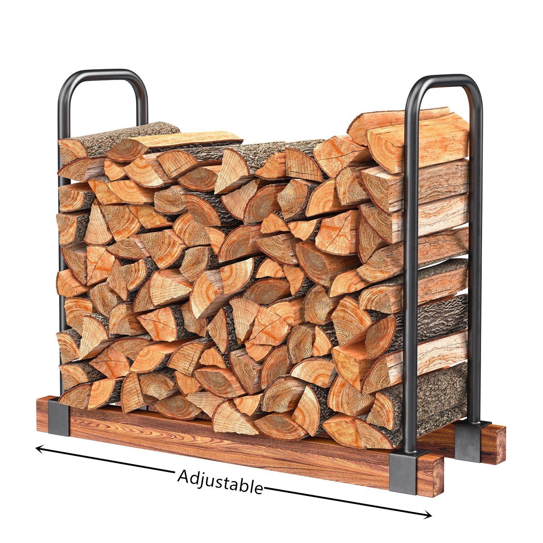 Amazon.com: HollyHOME Heavy Duty Firewood Racks Adjustable Length Log  Bracket Rack Holder, Black: Sports & Outdoors