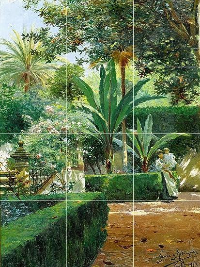 a Garden in Seville Spain Antique Painting Ceramic Tile
