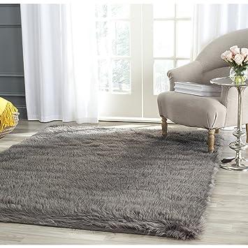 Safavieh Faux Silky Sheepskin FSS235D Grey Area Shag Rug (2u0027 X ...