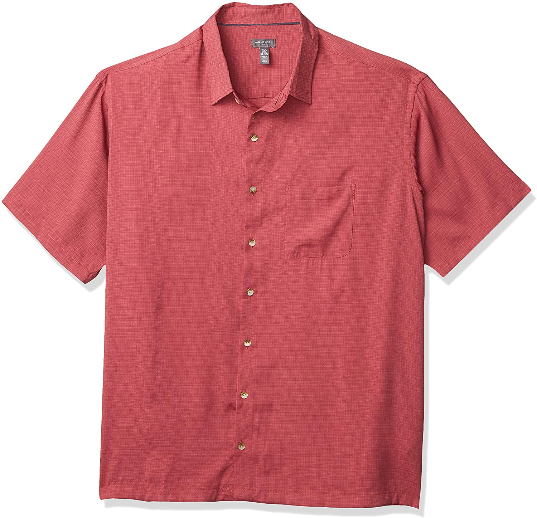 Van Heusen Mens Big and Tall Air Short Sleeve Button Down Grid Shirt Button Down Shirt