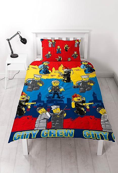 LEGO City 'Heroes' Single Duvet Set - Repeat Pattern Design: Amazon ...