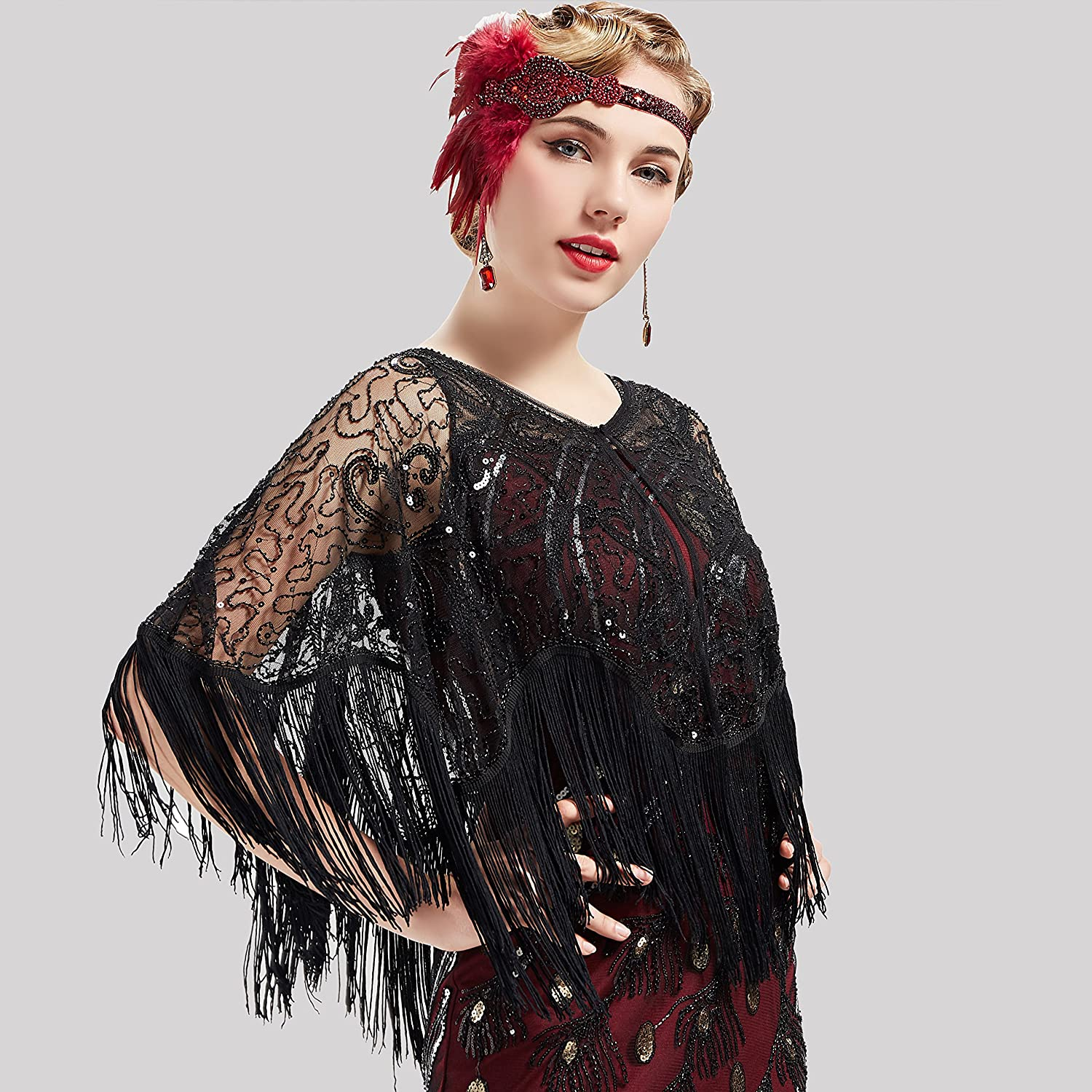 1920s Shawls, Scarves and Evening Jacket Tips BABEYOND 1920s Shawl Wraps Gatsby Beaded Evening Cape Bridal Shawl for Evening Dresses Wedding Party $23.99 AT vintagedancer.com