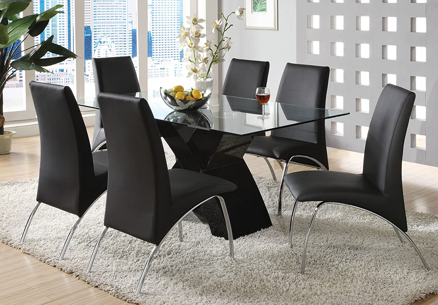 Amazon.com: Furniture of America Rivendale 7-Piece Modern Dining ...