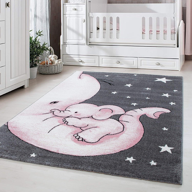 Kinderteppich S/ü/ße B/är mit Wolke Sterne Muster Kinderzimmer Babyzimmer Spielzimmer Teppich Rechteck Rund Grau Pink Wei/ß Gr/ö/ße:120 cm Rund