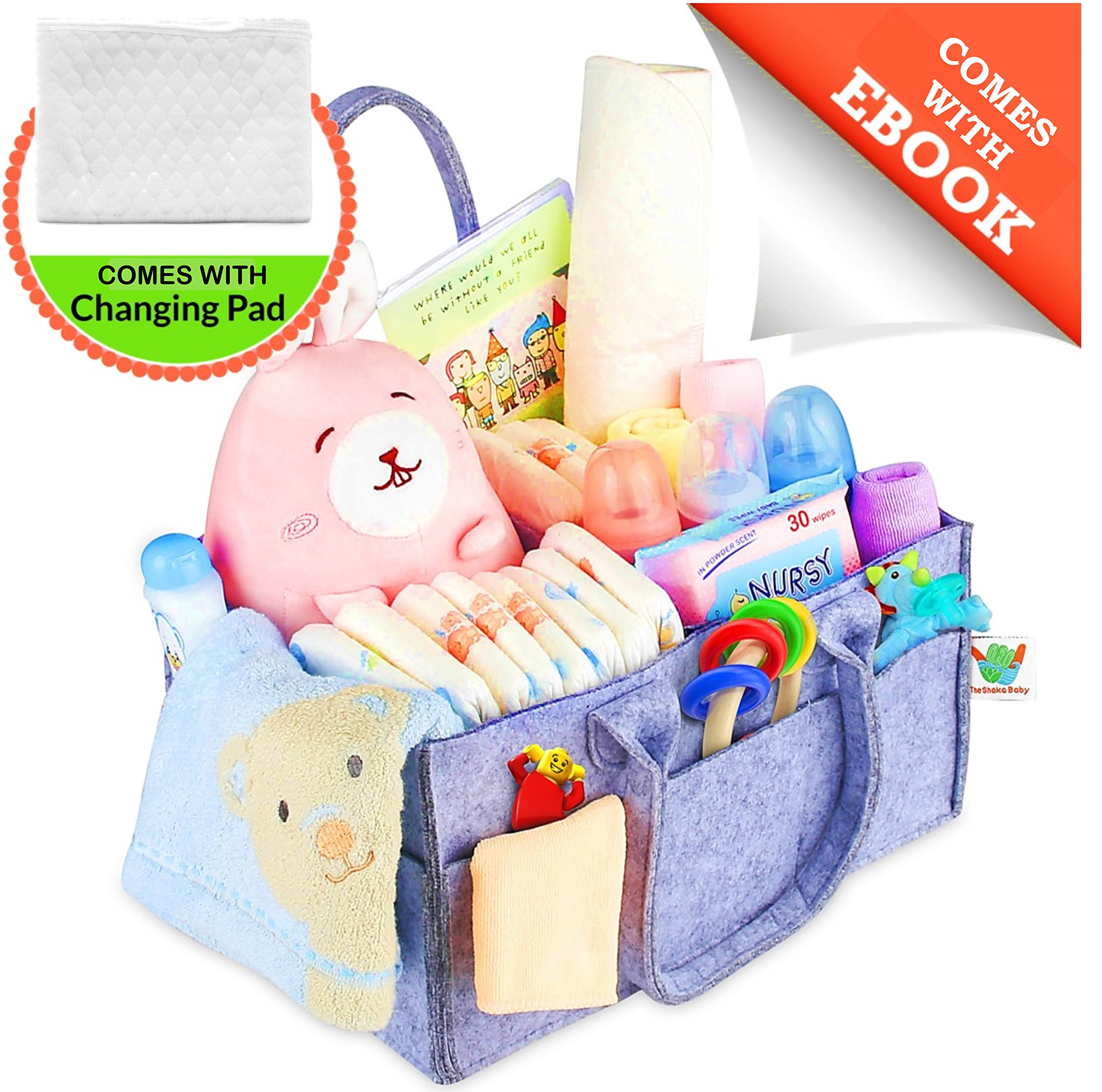 Diaper Caddy Portable Changing Pad Kit   Nursery Storage Organizer Bin with Waterproof Mat for Girls, Boys, Newborns, Infants & Toddlers   Perfect Baby Shower Gift, Car Travel + EBOOK