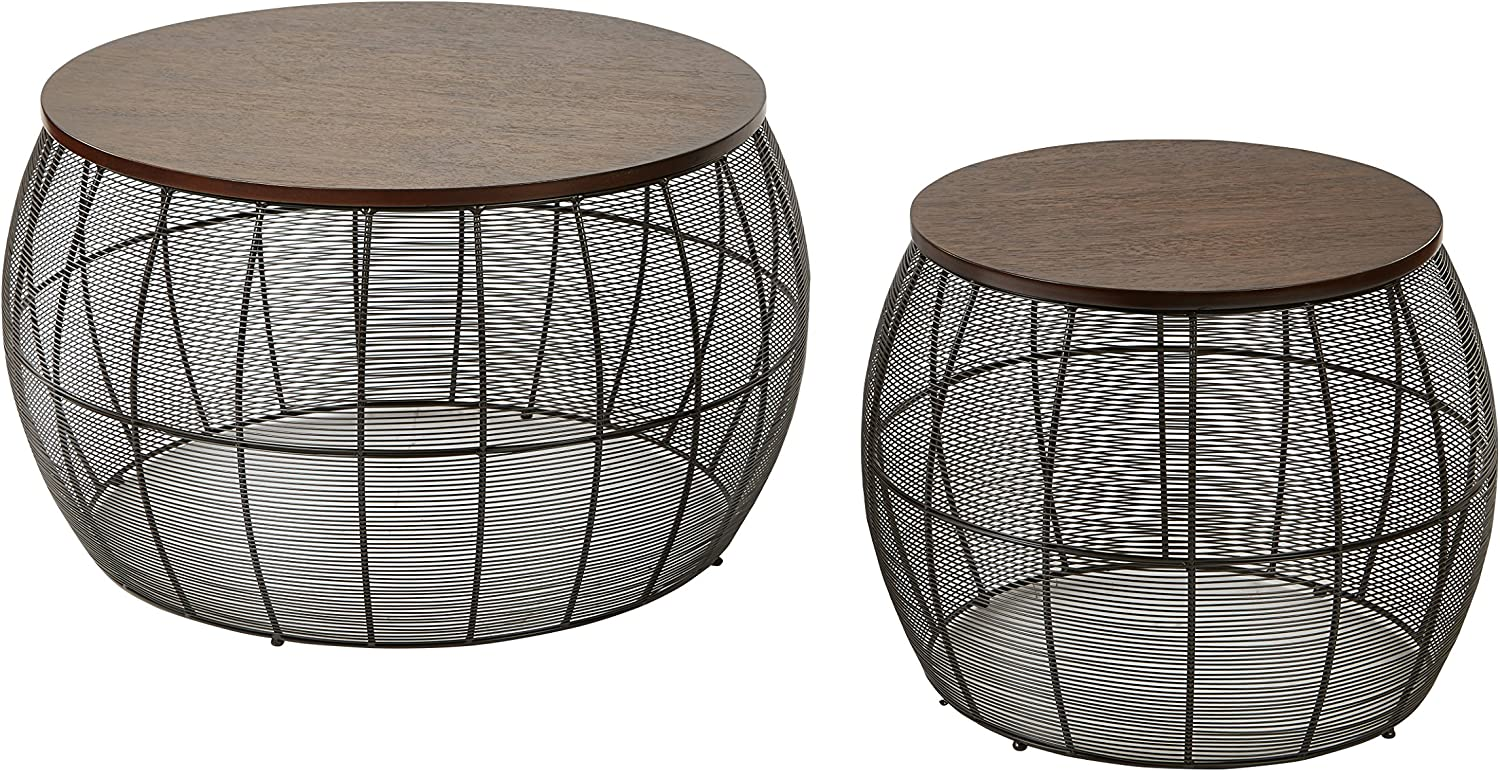 - Amazon.com: Office Star 2-Piece Camden Round Metal Accent Tables With Wood  Top, Espresso: Kitchen & Dining