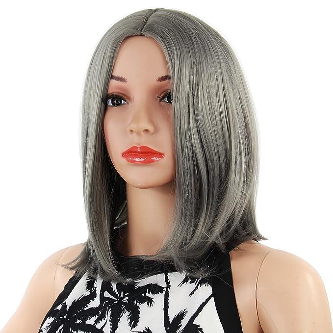 anime costume ball halloween masquerade womens straight short hair wigs gray