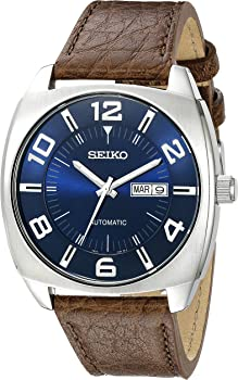 Seiko SNKN37 Recraft Automatic Blue Dial Brown Leather Mens Watch