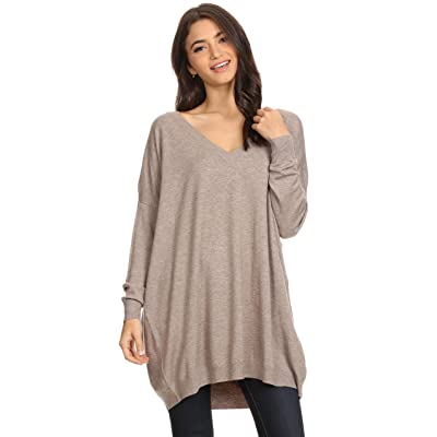 A+D Womens Basic Oversized V-Neck Sweater Pullover Tunic Top