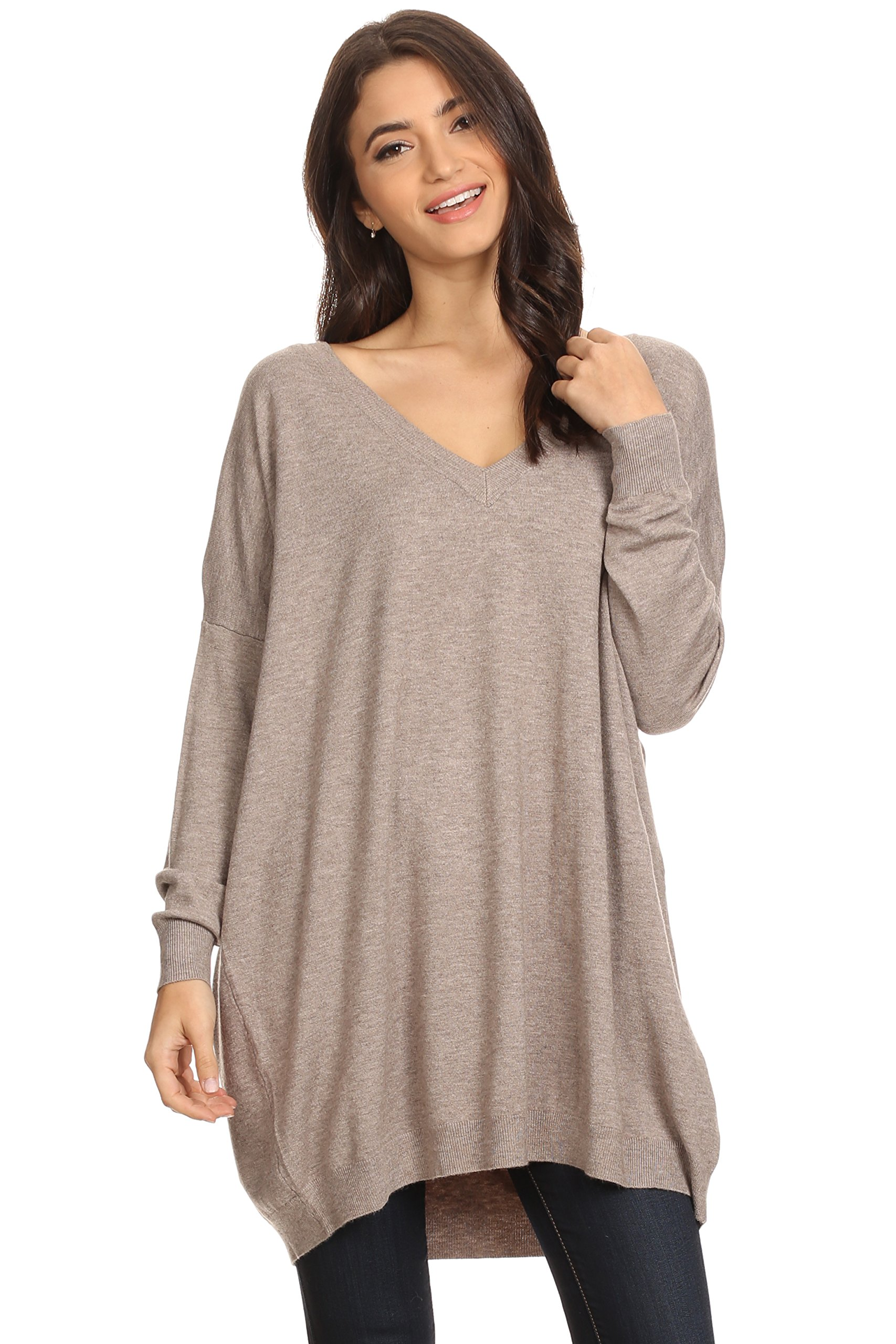 Alexander + David Womens Basic Oversized V-Neck Sweater Pullover Tunic (Mocha, Medium/Large)