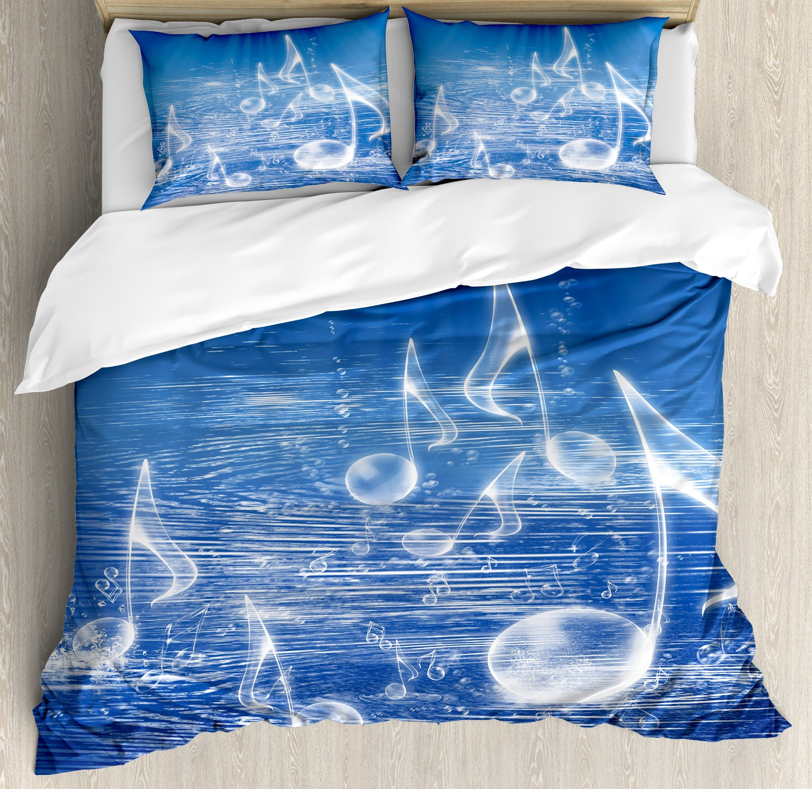 Music Decor Duvet Cover Set by Ambesonne, Magical Water with Musical Notes Bubbles and Dancing Waves Fantasy Music More Than Real Decor, 3 Piece Bedding Set with Pillow Shams, Queen / Full, Blue