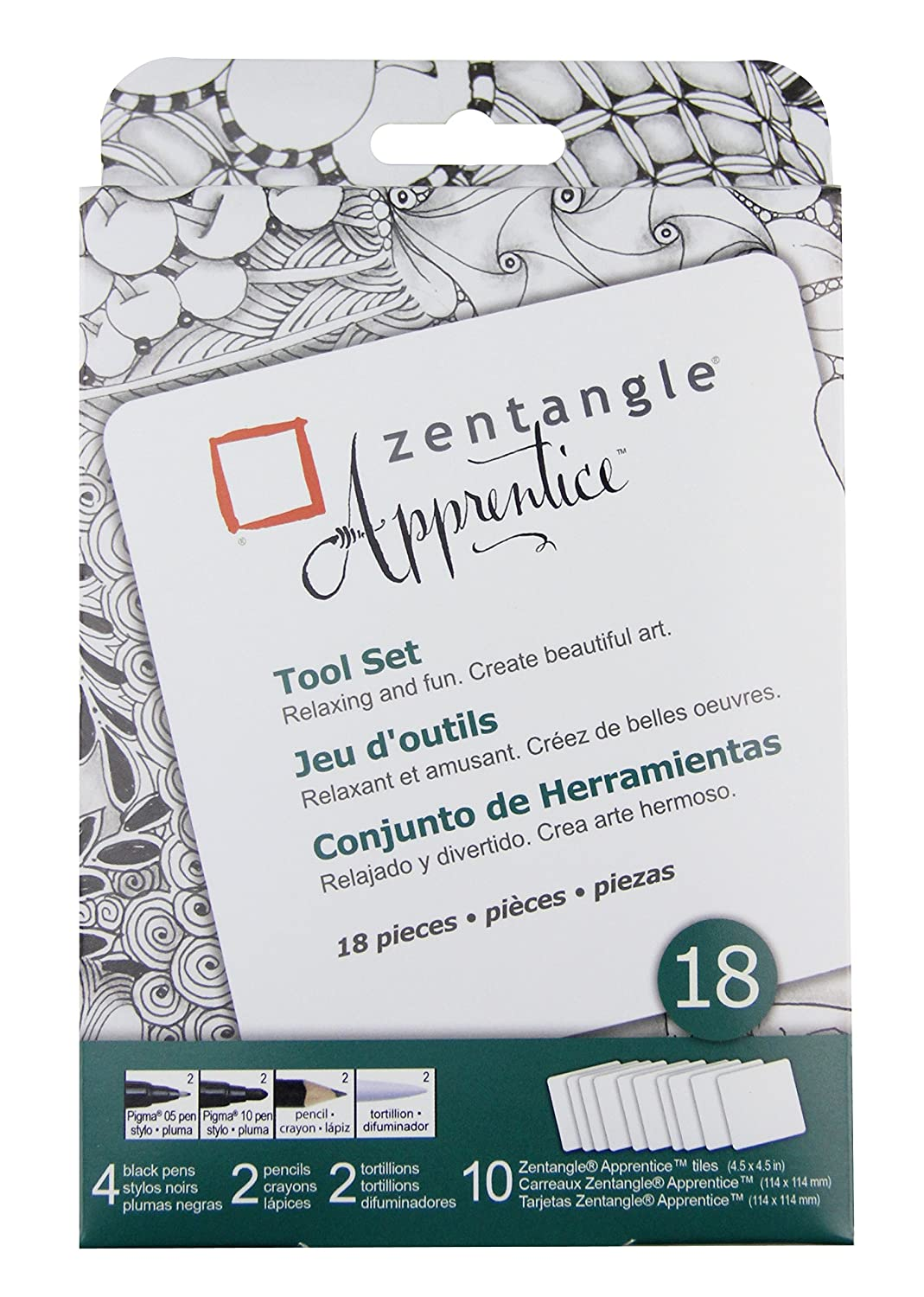 Pigma Sakura Zentangle Tiles, 3.5-Inch, White Sakura of America 50110