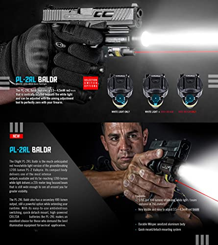 OLIGHT PL-2RL Baldr 1200 Lumens 235 Meters Handgun Tactical Flashlight with Red Beam,Ultra Hight Output Flashlight with CR123A Batteries and SKYBEN Battery Case