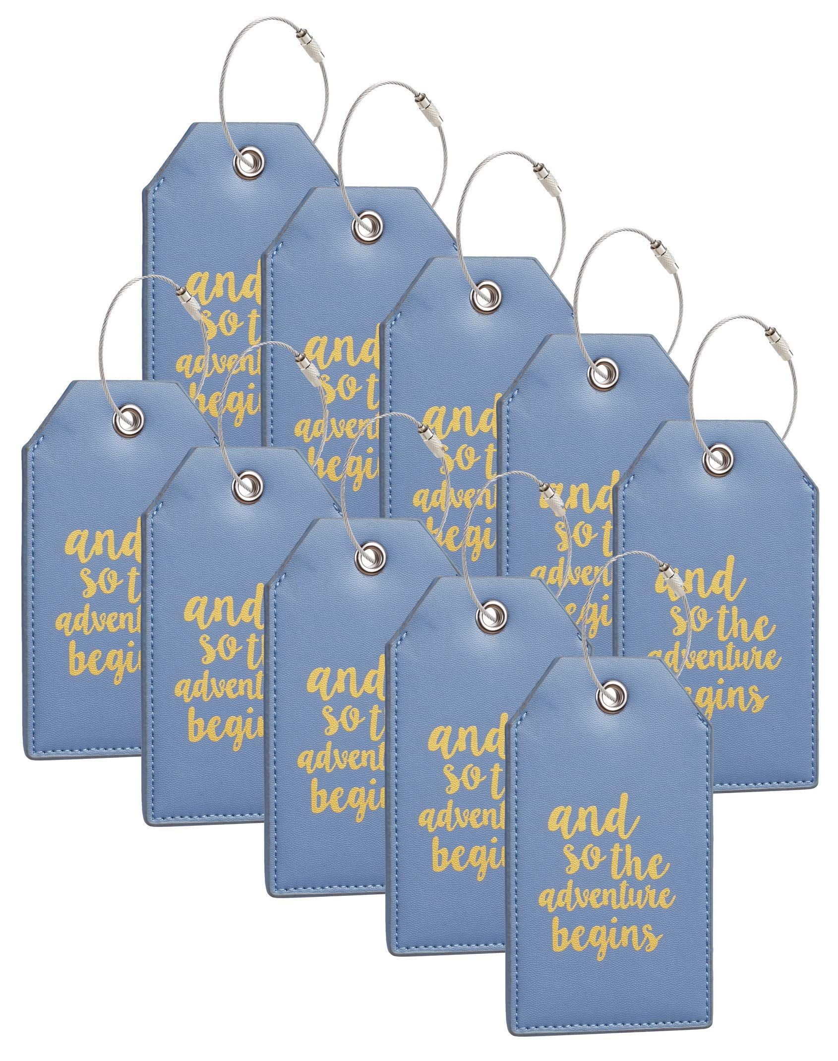 Casmonal Luggage Tags with Full Back Privacy Cover w/Steel Loops (blue 10 pcs set)