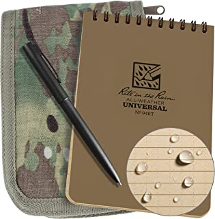 """product image for Rite in the Rain Weatherproof 4"""" x 6"""" Top-Spiral Notebook Kit: MultiCam CORDURA Fabric Cover, 4"""" x 6"""" Tan Notebook, and Weatherproof Pen (No. 946M-KIT)"""