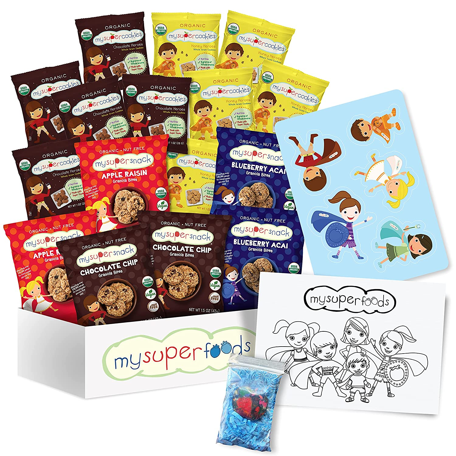 MySuperFoods Organic Snack Box, 16 Snack Packs, Nut Free, Includes Coloring Page and Sticker; Perfect for Birthdays, Get Well, Graduation and Camp Care Package!