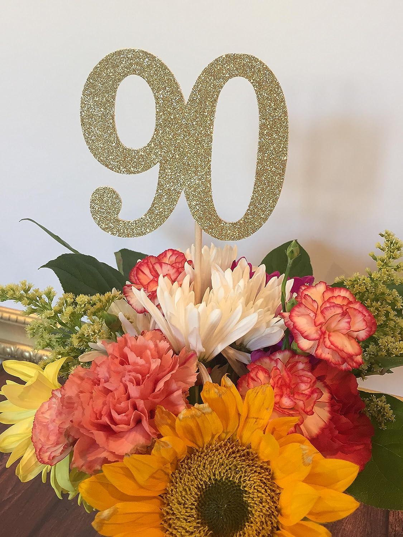 Amazon 90th Birthday Decorations Age 90 Centerpiece Picks Glitter Number On A Stick Sticks Quantity Of 3 Handmade