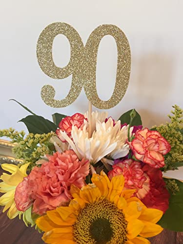 90th Birthday Decorations Age 90 Centerpiece Picks Glitter Number On A Stick