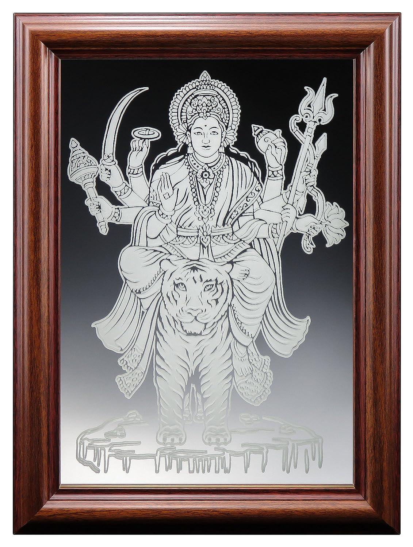 Amazon com durga maa sherawali fine glass mirror etching typea 7x10 with photo frame home kitchen