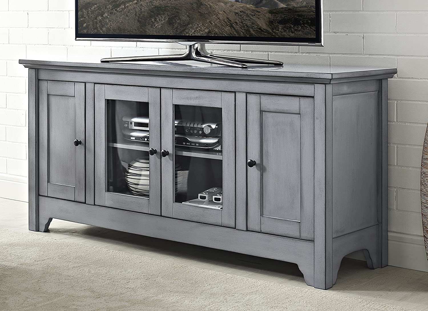 "WE Furniture 52"" Wood TV Media Stand Storage Console - Antique Grey"