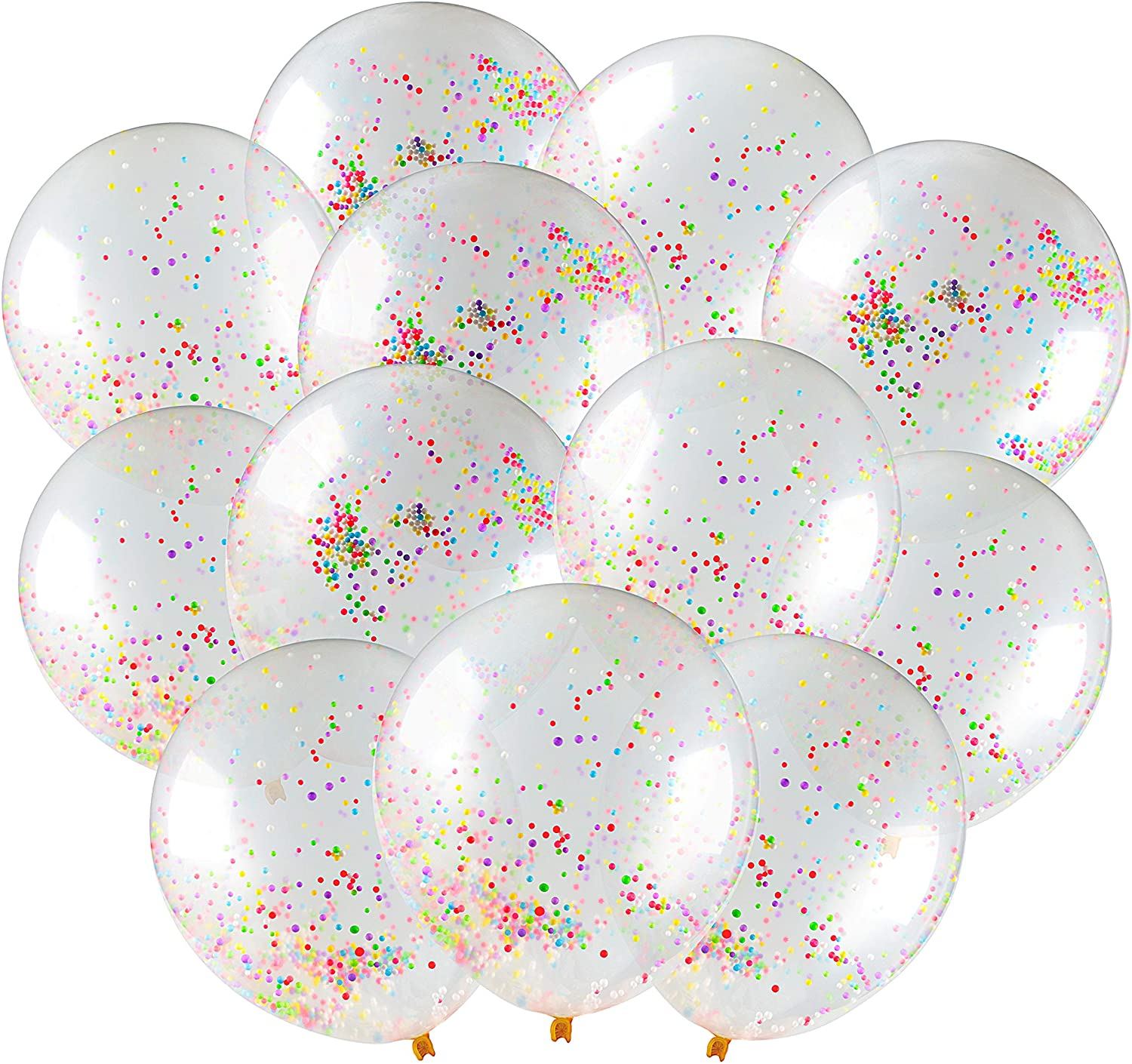 Confetti Balloons - SUPER-STATIC Confetti Birthday Balloons Rainbow Happy Birthday Party Balloons - Clear Balloons With Confetti Inside - Multicolor Sprinkle PRE-FILLED Colorful Latex Balloons For Birthday Party, Engagement Party Decorations For Party, Bride Bridal Shower Decor Ballon Baloon, Wedding Balloons, Girl Boy Baby Shower Balloons Decorations, Large Christmas Parties, Sweet 16 Balloons Pack, Globos De Cumpleaños (Red White Blue Gold Rose Pink Yellow Purple Green) (12-Pack, Rainbow)