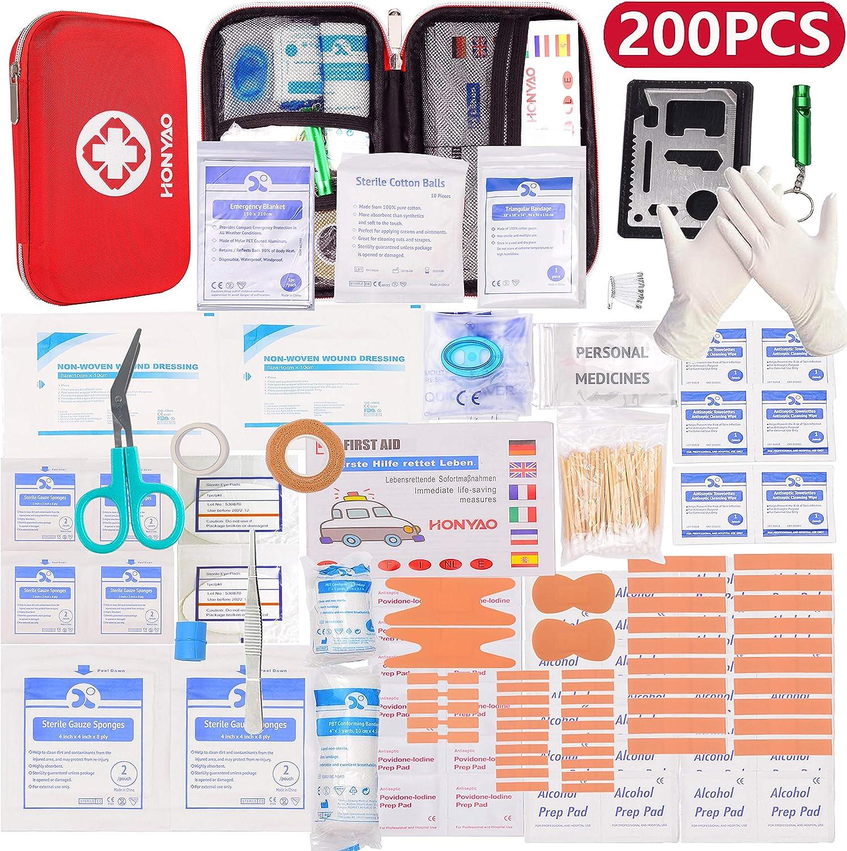 HONYAO Botiquín de Primeros Auxilios, Mini Kit de Supervivencia - Bolsa Médico de Emergencia Completo para Coche Barco Motocicleta El Hogar Lugar de Trabajo Mochila y Acampar Senderismo Viaje