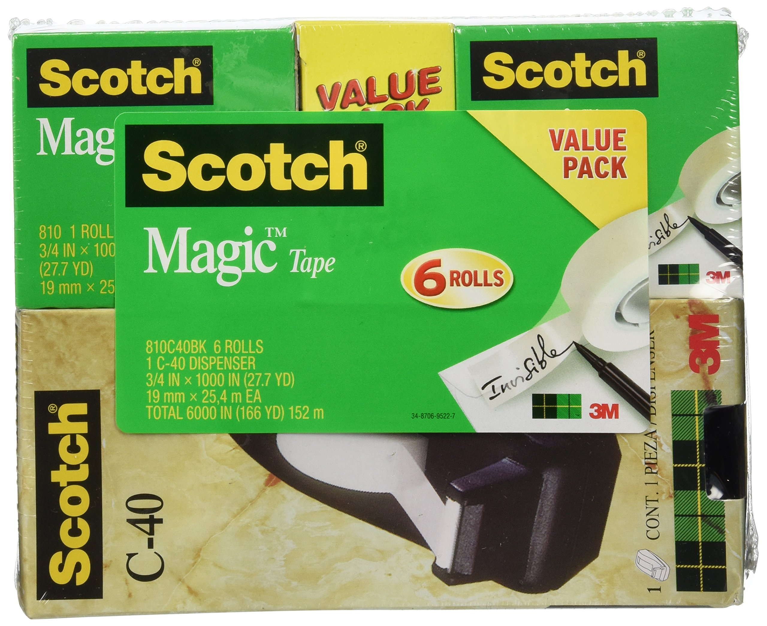 Scotch Magic Tape with C-40 Black Dispenser, Engineered for Office and Home Use, Invisible, Versatile, The Original, Standard Width, 3/4 x 1000 Inches, 6 Rolls, 1 Dispenser (810C40BK)