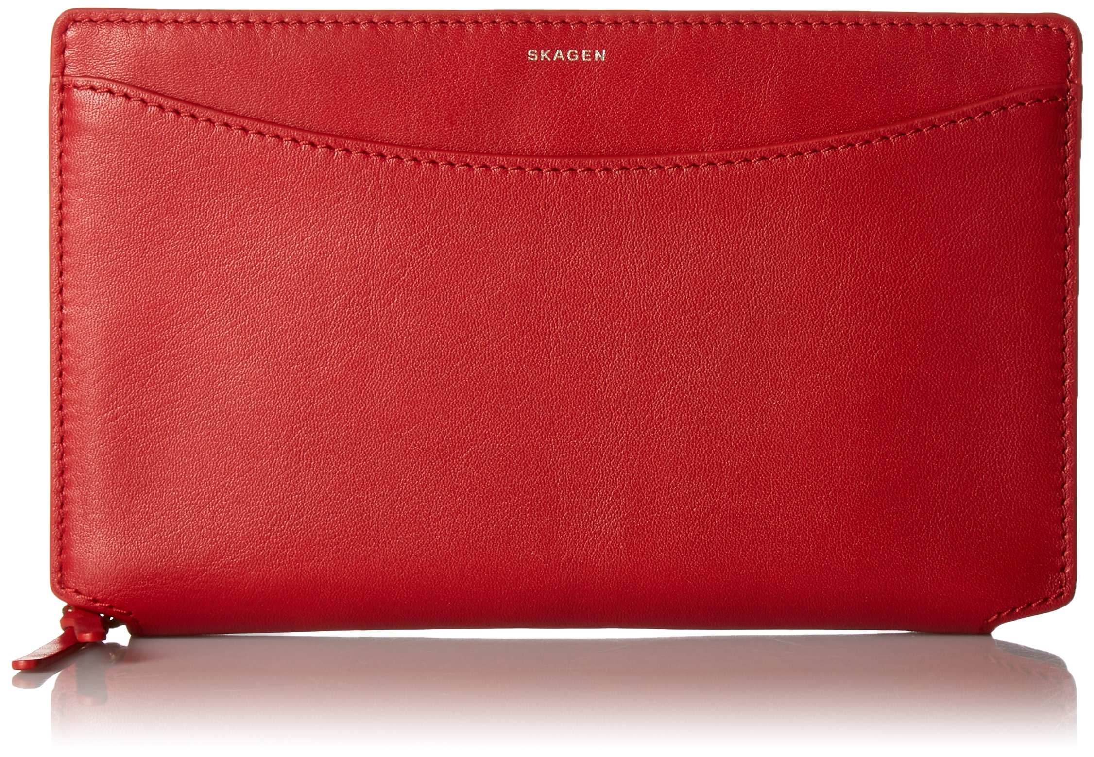 Ryle Recessed Zip Around Wallet - Red Wallet, One Size