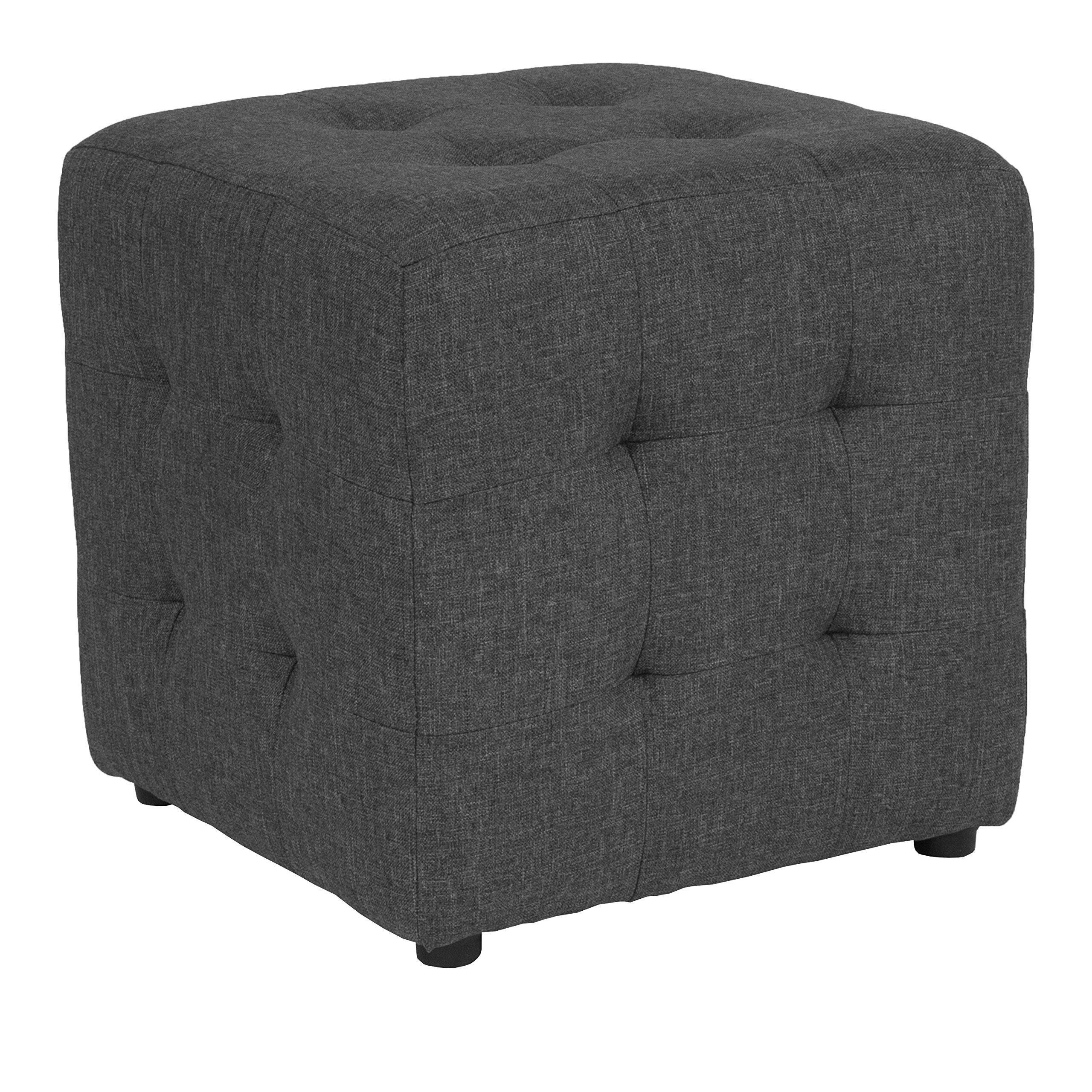 Flash Furniture Avendale Tufted Upholstered Ottoman Pouf in Dark Gray Fabric
