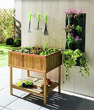 Table potagère en bois avec étagère de rangement - pour cultiver ...