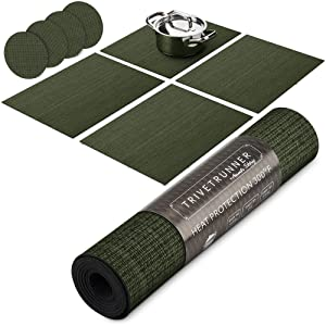 Trivetrunner:Decorative Modular Trivet Runner for Table 4 pcs Placemats Extendable Hot Pad, with Coasters Heat-Resistant Surface,for Hot Plates, Pots, Dishes, Cookware for Kitchen (Dark Green)