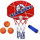 """Slam Dunk Mini Basketball Hoop Set - Over the Door Plastic Toy Backboard 14 X 10"""" w/ Net 3 Balls & Ball Pump. Simple Assembly Easy Clip-on Mount Game For Kids Children or Adults by Kipi Toys"""