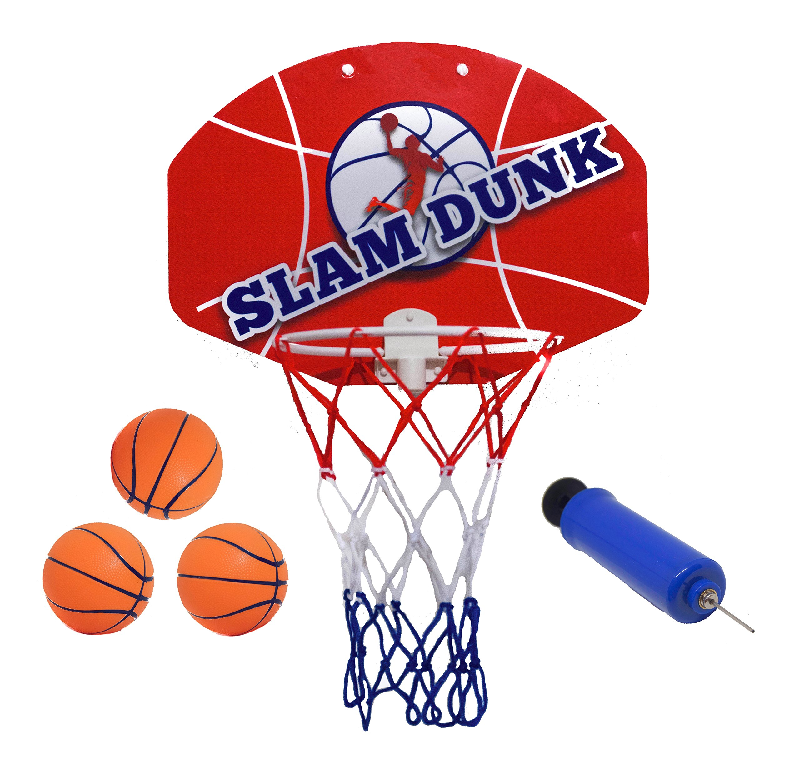 Slam Dunk Mini Basketball Hoop Set - Over The Door Plastic Toy Backboard 14 X 10'' w/ Net, 3 Balls & Ball Pump. Simple Assembly, Hanger Mount Game for Kids Children or Adults by Kipi Toys