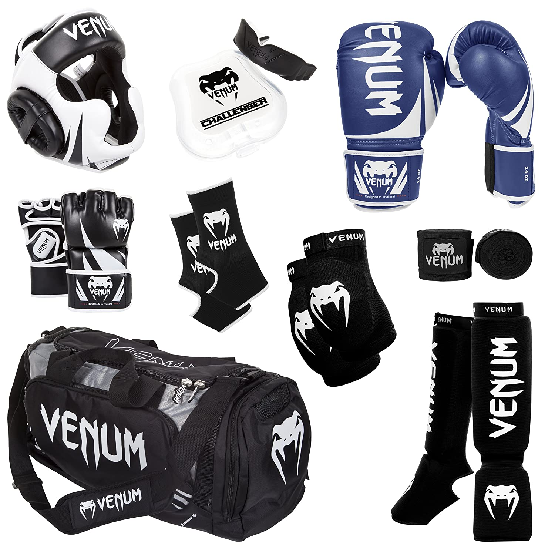 Venum Challenger 2.0 MMAトレーニングセット B00KM14TLI Blue Gloves, Black In-Step Shinguards, Black MMA Gloves, Black Headgear, Black Handwraps, Black/White Mouthguard, Black Sport Bag, Black Ankle Support, Black Elbow Protector 10-Oz. Boxing Gloves, M. MMA Gloves