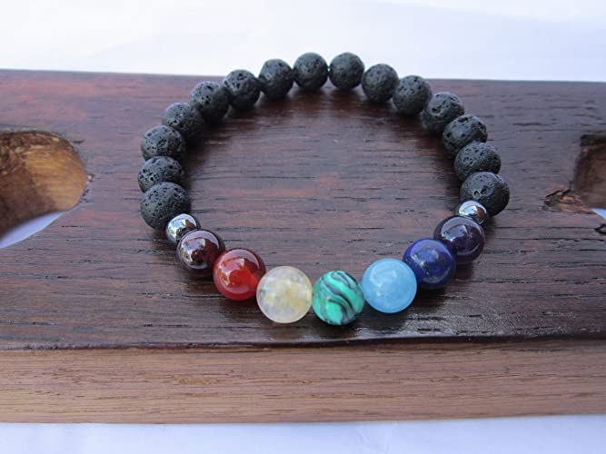 item chain beads chakra volcano fashion bracelet hot natural men energy and lava stone colorful agate hand