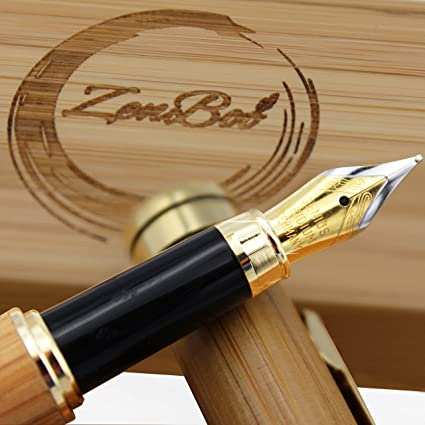 Bamboo Fountain Pen Writing Set   100% Handcrafted Pen   Case - Peaceful    Vintage 3d96a24deb