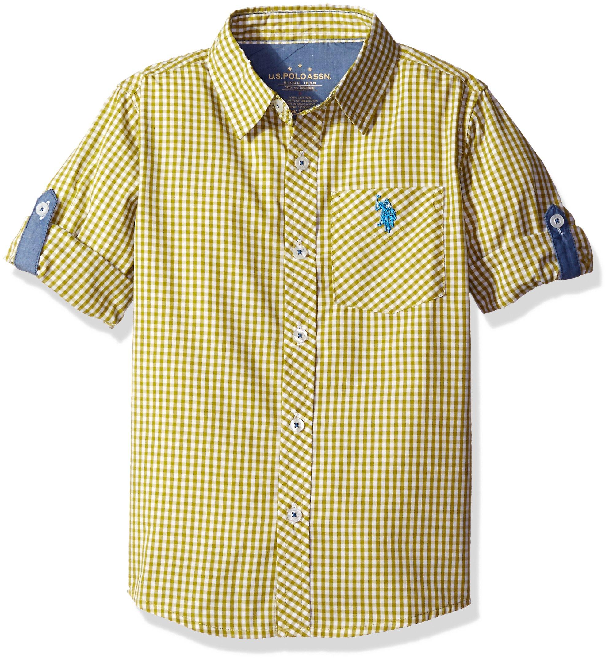 U.S. Polo Assn. Big Boys' Long Sleeve Single Pocket Sport Shirt, Green Plaid, 10/12