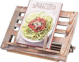 MyGift Rustic Torched Wood Adjustable Cookbook & Tablet Stand