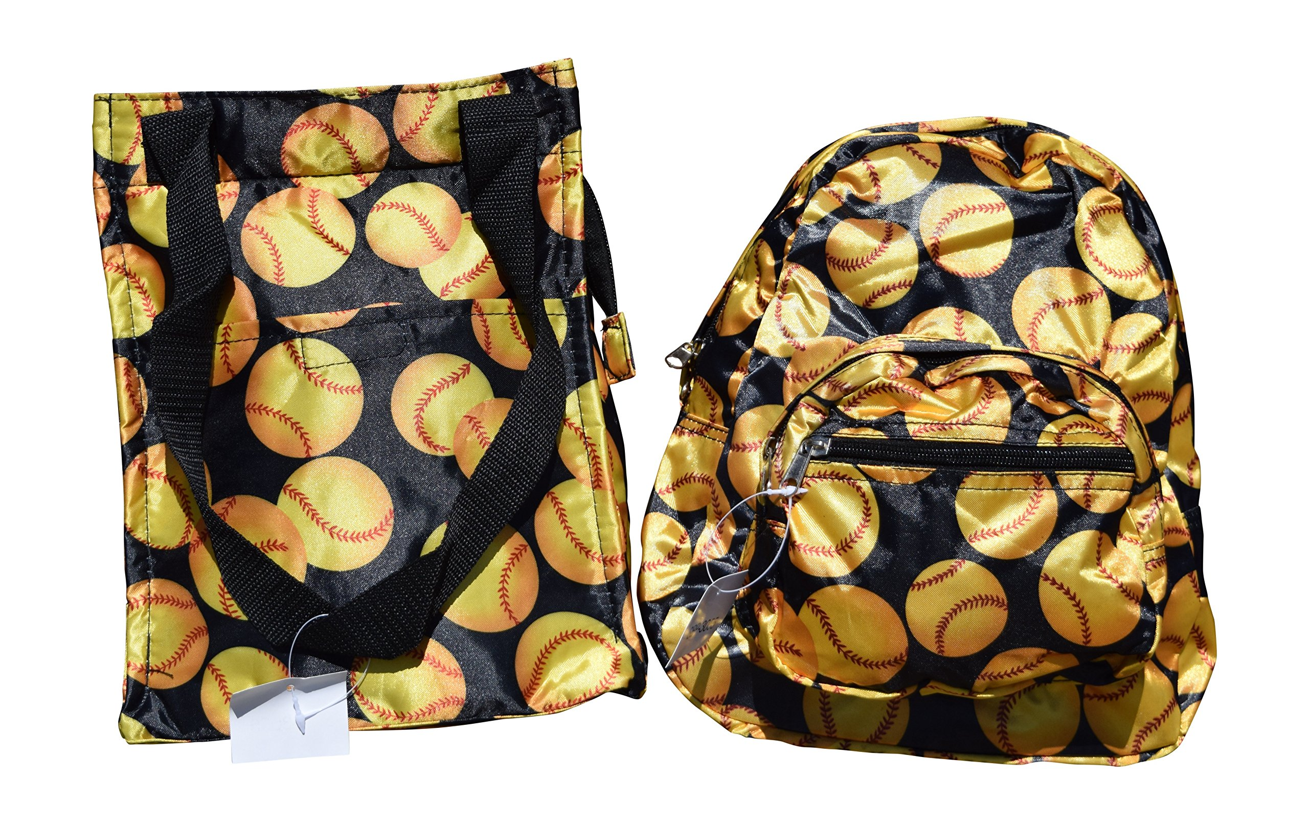 Small Size Backpack For Child and Matching Insulated Lunch Bag (Yellow Baseball)