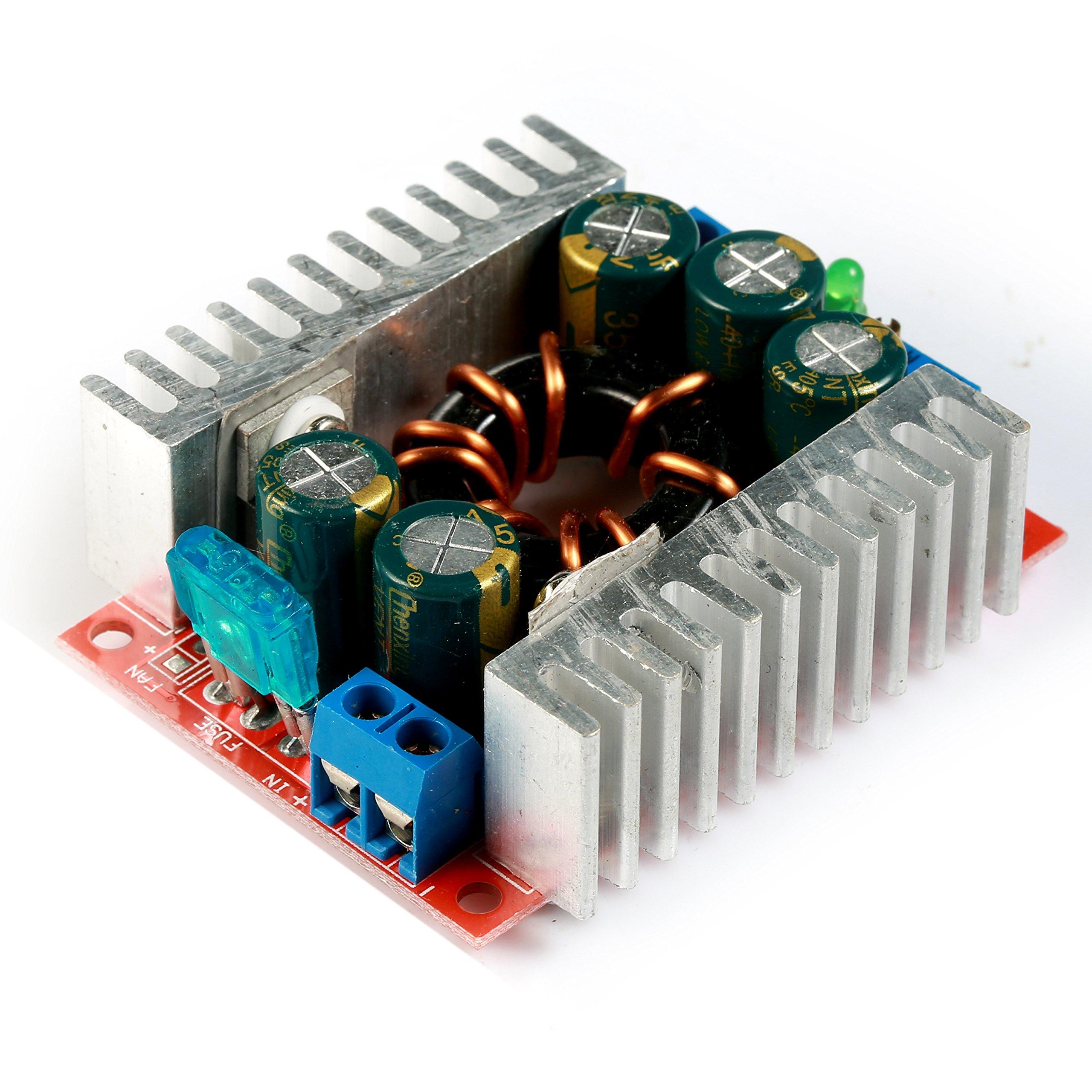 GEREE Mini Buck Voltage Converter DC to DC Step-down Transformer High Power 15A Volt Regulator Board Synchronous Inverter Module 4-30V to 1.2V-29V with Screw Adjustable