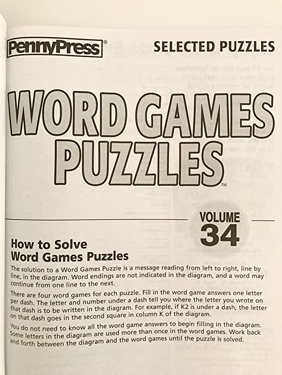 Amazon Com Volume 32 33 And 34 Of Word Games Puzzles From Penny Press Seleced Puzzle Series Everything Else