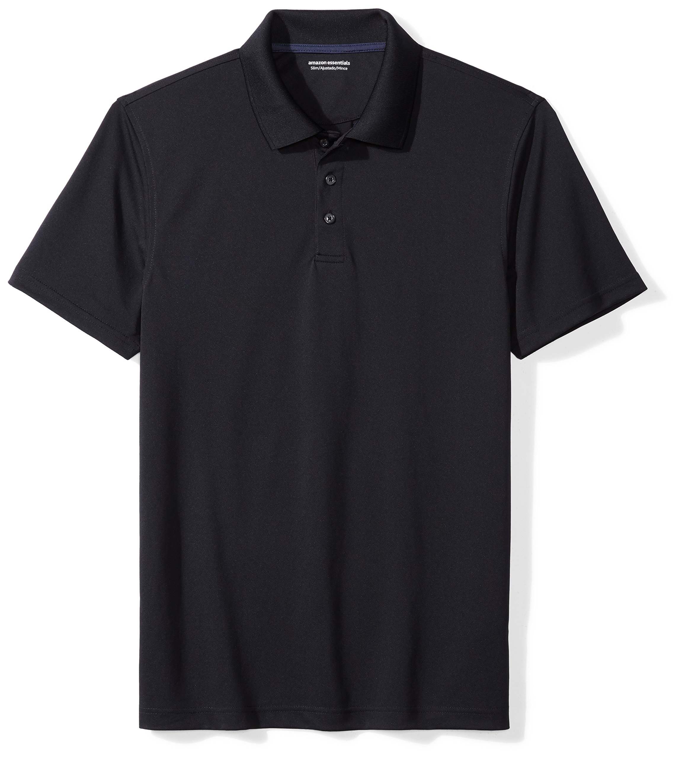 Amazon Essentials Men's Standard Slim-Fit Quick-Dry Golf Polo Shirt, Black, Large