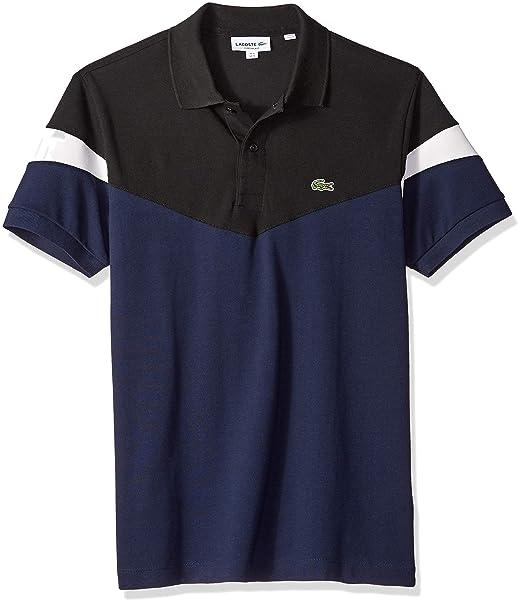99bd65d63 Lacoste Mens Standard Short Sleeve Classic Fit Pique Colorblock Polo ...