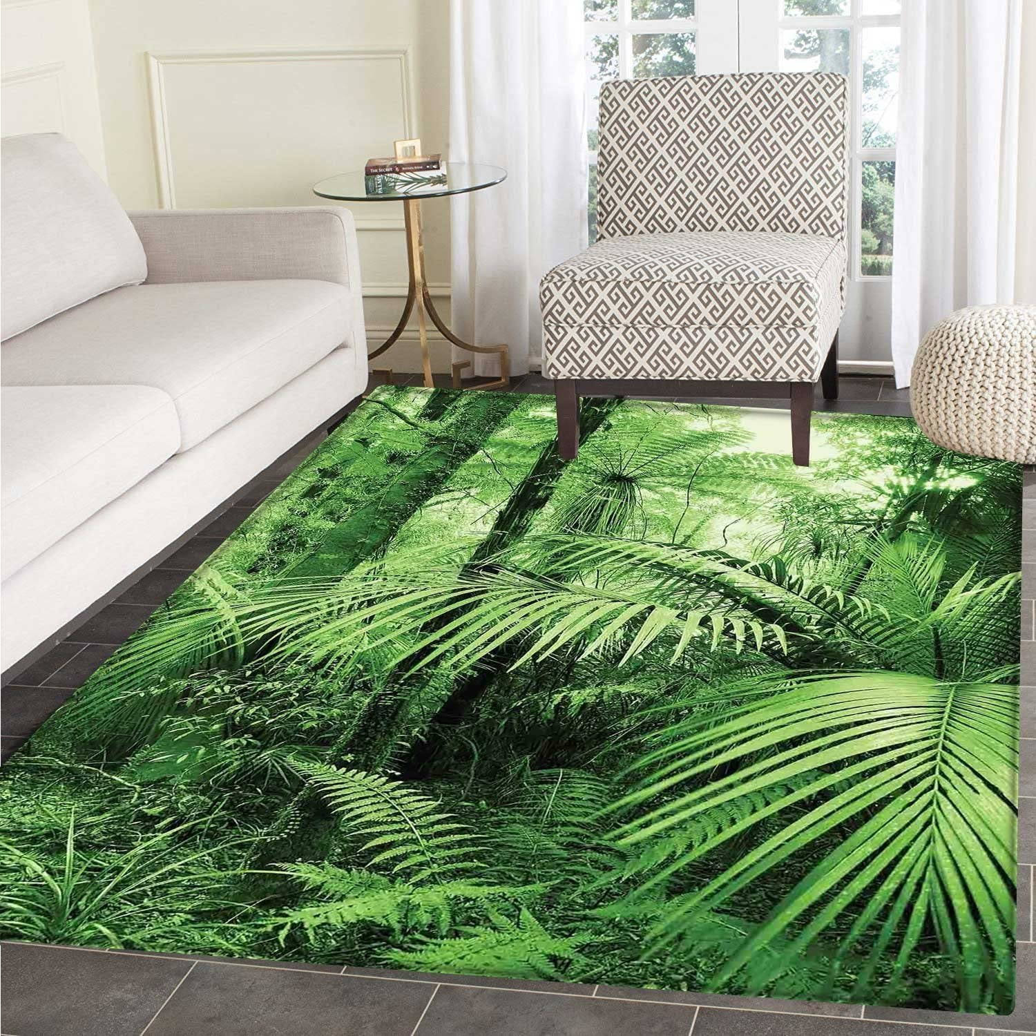 Rainforest Floor Mat Pattern Palm Trees and Exotic Plants in Tropical Jungle Wild Nature Zen Theme Illustration Living Dinning Room & Bedroom Mats 5'x6' Green