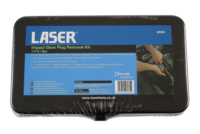 Laser 6035 - Kit de Herramientas para la extracción de bujías de precalentamiento Mediante Impacto, 9 Unidades: Amazon.es: Coche y moto