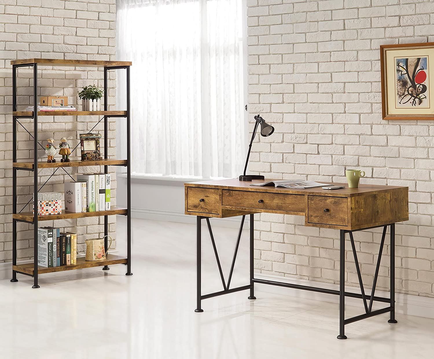 industrial style home office. perfect style amazoncom coaster home furnishings analiese modern rustic industrial  three drawer writing desk  antique nutmeg kitchen u0026 dining intended style office