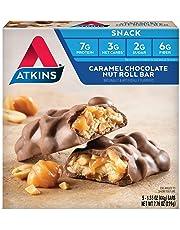 Atkins Snack Bar, Caramel Chocolate Nut Roll, 5 Count