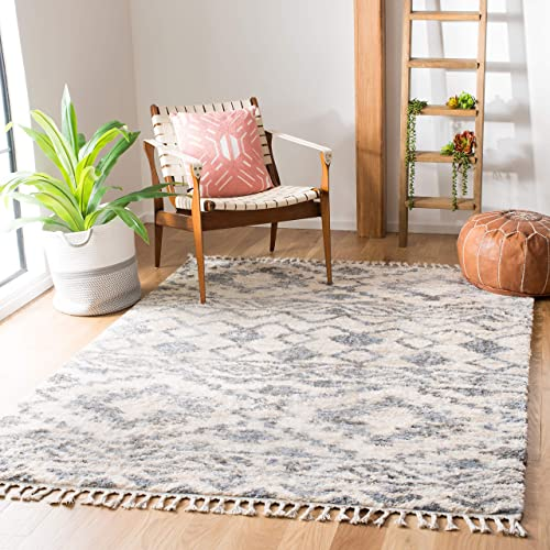 Safavieh Berber Fringe Shag Collection BFG606A Area Rug, 11 x 15 , Cream Navy