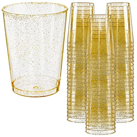 d1962e018b53 Glitter Disposable Cups   10 oz. 50 Pack   Clear Plastic Cups   Gold  Glitter Plastic Party Cups   Disposable Plastic Wine Glasses for Parties    ...