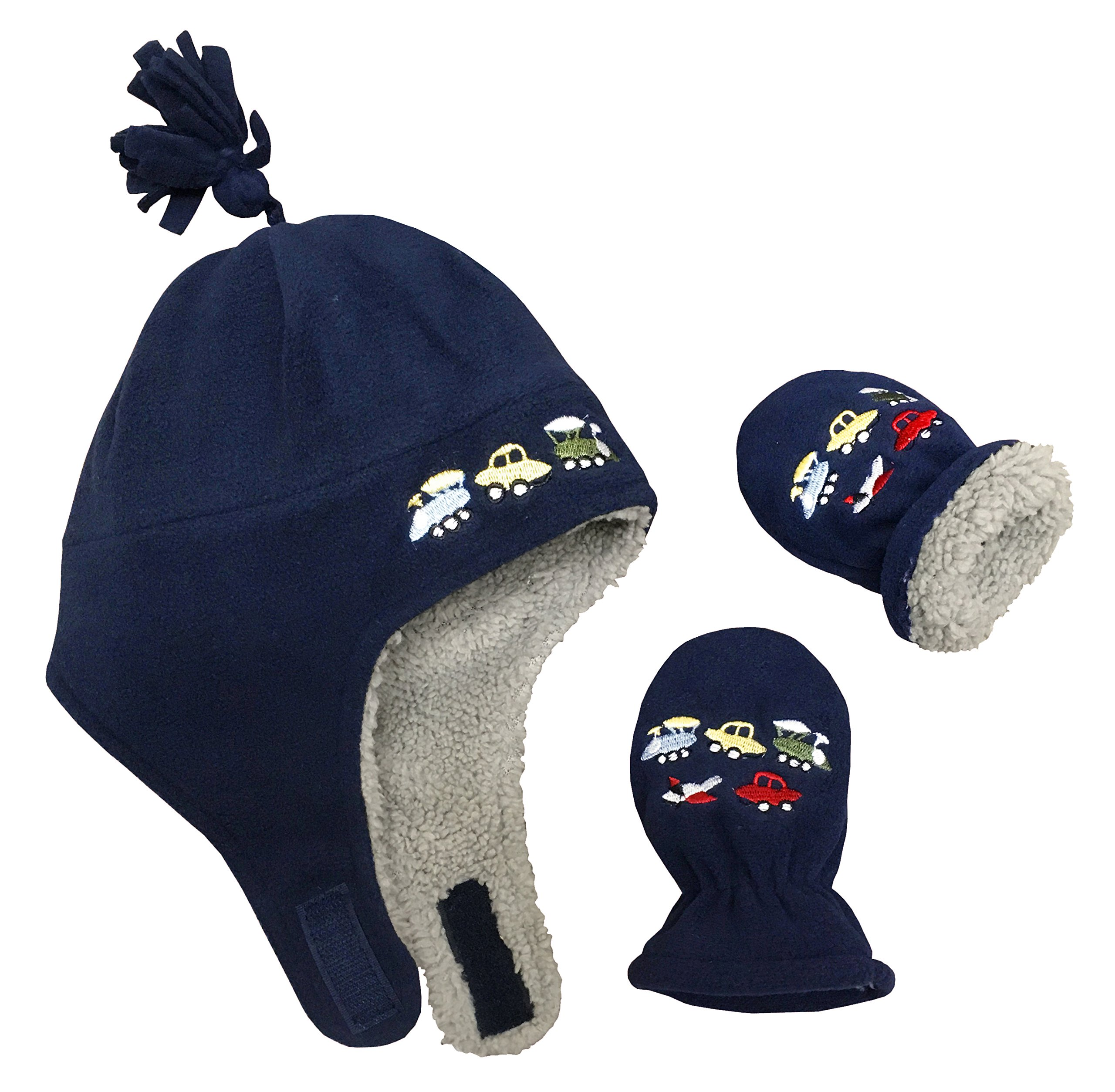7a0b5e74d23 N Ice Caps Little Boys and Baby Sherpa Lined Fleece Embroidered Hat Mitten  Set